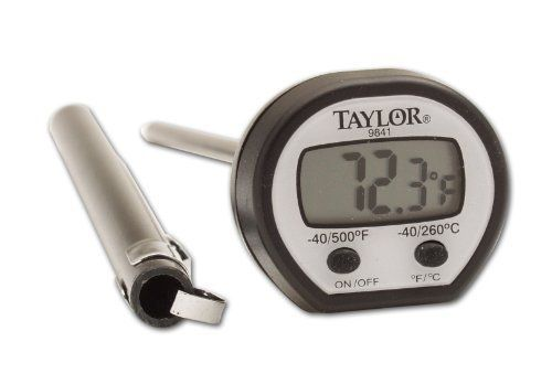 Taylor High-Temperature Instant-Read Pocket Thermometer by Taylor Thermometers. $12.21. Measures from -58 to 500 degrees F; accurate to 1/10 of a degree up to 199.9 degrees F. Comes with pocket sleeve and extra battery. Has on/off switch to extend battery life; flattened profile prevents rolling. Durable, stainless-steel stem; 3/10-inch, easy-to-read LCD display. Instant-read pocket thermometer; temperature readings update every second. Easy to Read Professional Gra...