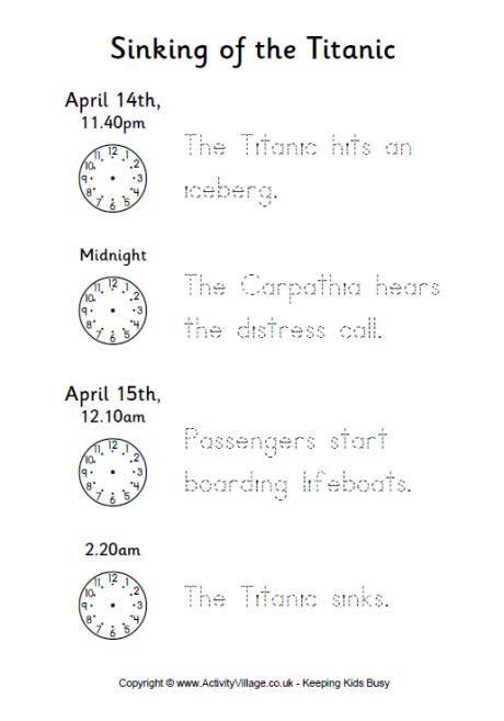 Titanic timeline worksheet