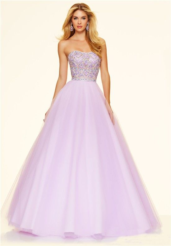 Lovely Ball Gown Strapless Lilac Satin Tulle Beaded Prom Dress ...