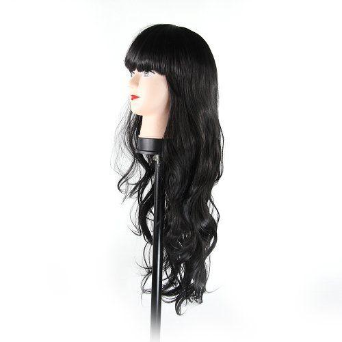 Amazon.com : Fashion Girls and Women Sexy and Charming Long Wavy Hair Wig - Neat Bangs - Long Full Hair (0002, black) : Hair Replacement Wigs : Beauty