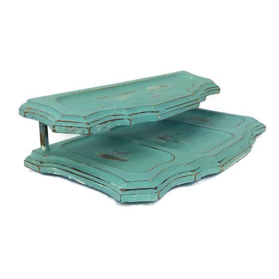 VINTAGE VALET TRAY Wooden Valet Tray Turquoise by ShabbyShores