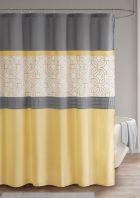 510 Design Donnell Embroidered And Pieced Shower Curtain With