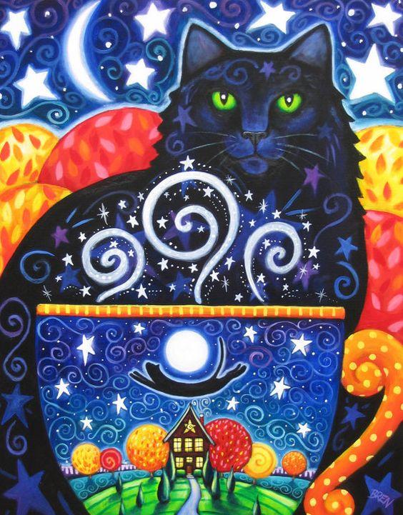 Herbst-Magic 8 x 10 bunte schwarze Katze Kaffee von BlueLucyStudios
