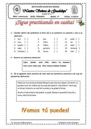 Guia De Comunicacion Sustantivo Concreto Y Abstracto Sustantivos Concretos Y Abstractos Sustantivos Concretos Sustantivos Abstractos