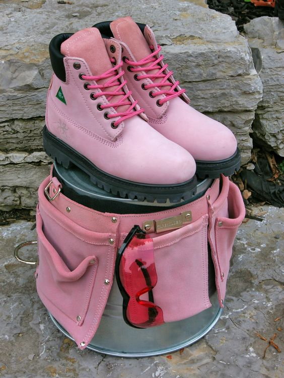 Pink work boots, tool belt and safety glasses | Moxie Mojo - our ...