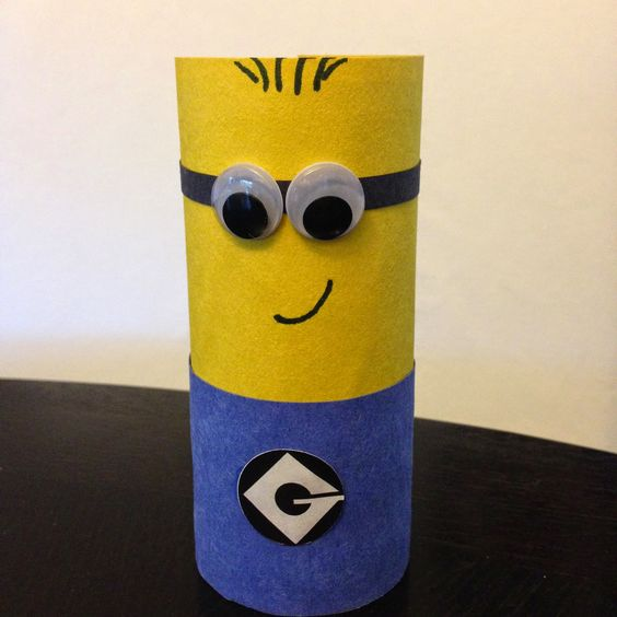 Easy despicable me minion children 39 s craft using a for Recycle toilet paper rolls crafts