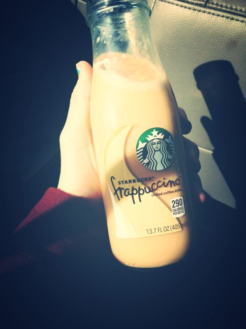 Starbucks frap in a cup/bottle/jar/whatever you call it. <3