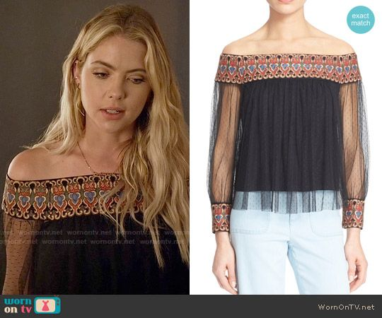 Hanna's black embroidered off-shoulder top on Pretty Little Liars. Outfit…