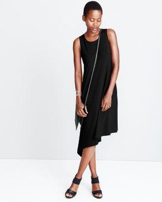 Eileen Fisher Viscose Jersey Asymmetrical Tank Dress $178 in black only