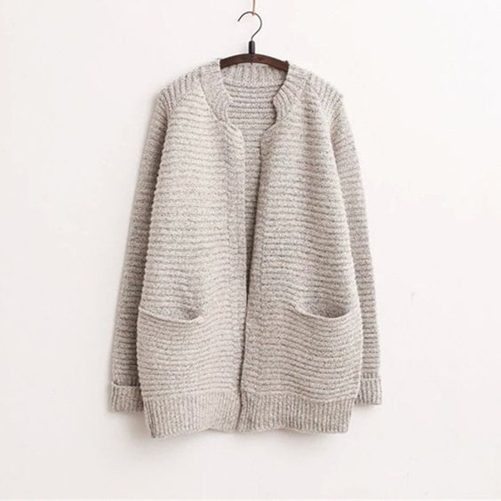 over size long sleeve sweater women knitted solid cotton cardigan Loose Sweaters Pull Femme SBK2-7