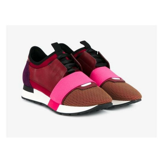 Balenciaga Red, Pink and Purple Low-Top