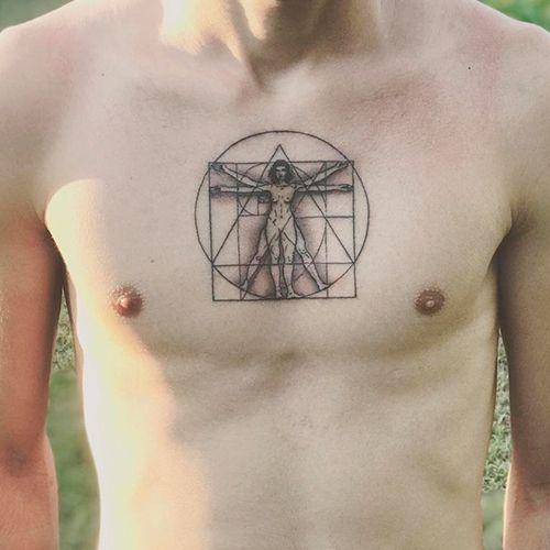 Tatuaje Hombre De Vitruvio Lineas Geometric Tattoo Tattoos Geometric