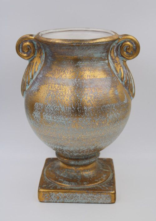 Vintage Stangl Mid Century 22kt Antique Gold Art Pottery Footed