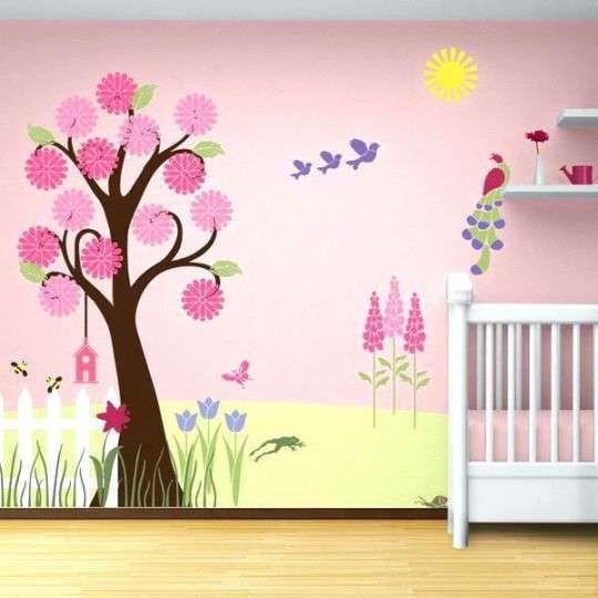 Wandbemalung Kinderzimmer Vorlagen Tapete Schlafzimmer Zimmer Tapete Baby Madchen Schlafzimmer Ideen