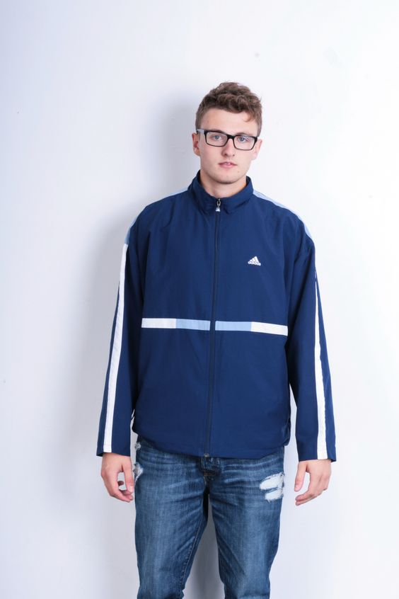 Adidas 90s Mens 42/44 L/XL Jacket Sport Blue Tracksuit Top Tracktop Vintage Retro