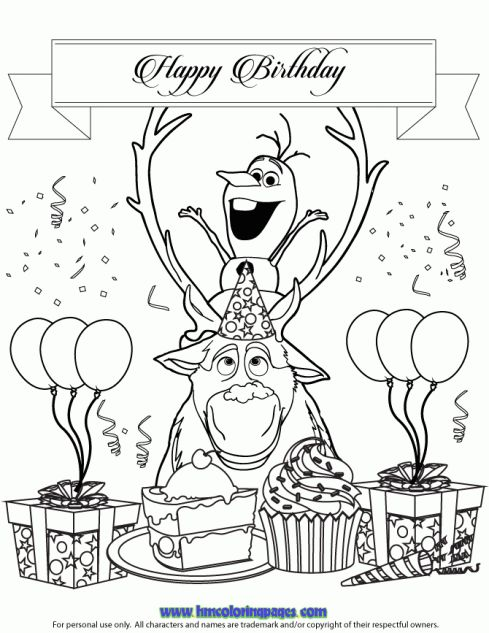 Frozen Characters Olaf And Sven Coloring Page