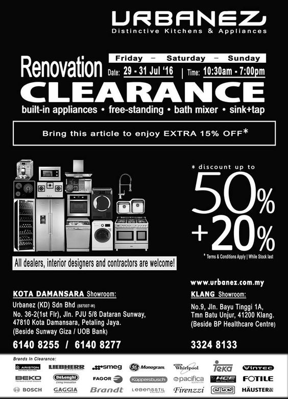 nice Kitchen Appliance Clearance Sales #5: Urbanez Malaysia are having their Extended Massive Clearance SALE now.  Enjoy Great Deals on kitchen appliances, free-standing appliances,  bath-mixer, ...