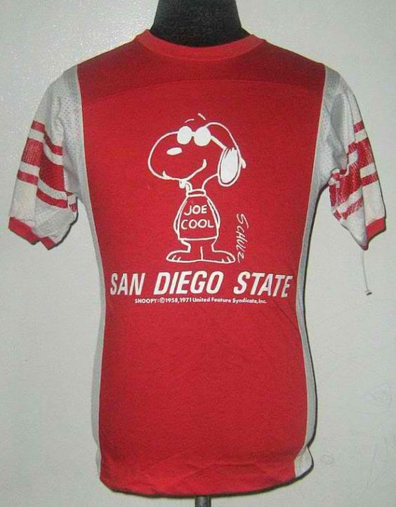 Vintage 80s San Diego State Snoopy Joe Cool Mesh T Shirt