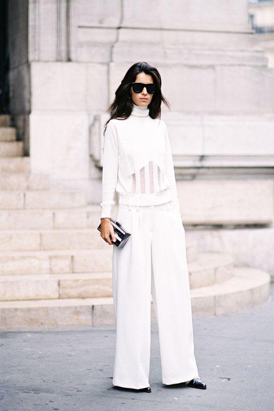 winter white outfit - wide leg trousers + longsleeve turtleneck: