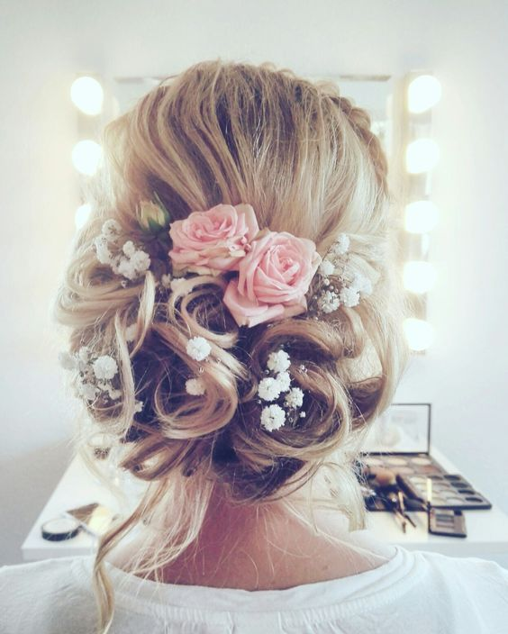 Rustic Vintage Updo Wedding Hairstyle With Blush Pink Roses