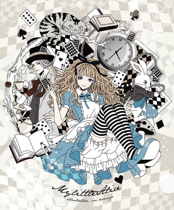 Tags: Anime, Alice in Wonderland, Cheshire Cat, Mad Hatter, Pixiv  Eri Kamijou