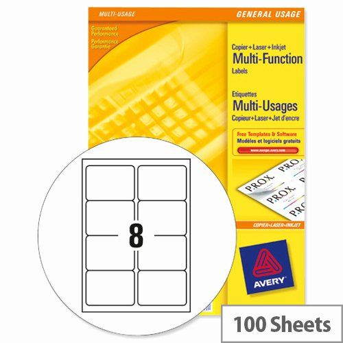 Avery 10 Per Page Labels New Avery 3427 Multi Function Labels 8 Per Sheet White 800 Labels Hun Label Templates Free Label Templates Business Card Template Word