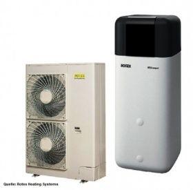 Das Wärmepumpen Paket HPSU compact 11 kW H/C BIV ist hydraulisch ausgerüstet mit einer Hocheffizienzpumpe. Für die hygienische Warmwasserbereitung im Durchlaufprinzip sorgt die Inneneinheit mit integriertem 500 ltr. Energiespeicher.