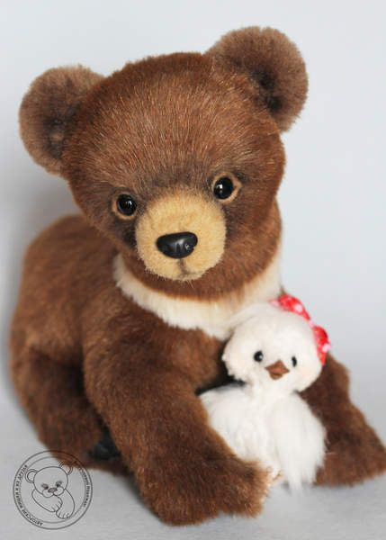 Bear Cub Maric and his friend bird by By Nadezhda Vyruchaeva | Bear Pile