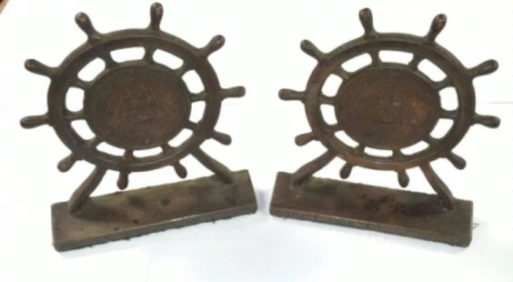 Antique 1927 Old Ironsides USS Frigate Constitution Ship Relic Bronze Bookends