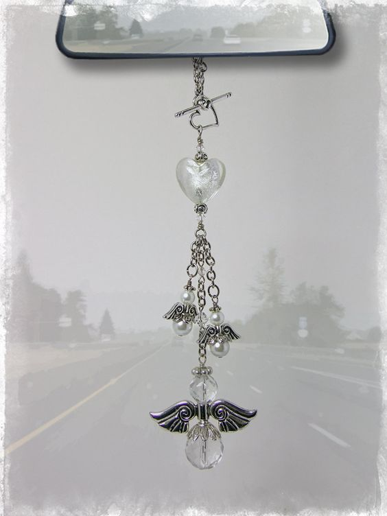 Guardian Angel Car Charm - Rear View Mirror Car Accessories. $25.00, via Etsy.