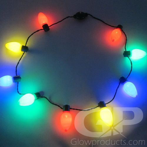 Large Christmas Bulb Light Necklaces Multi Color In 2020 Christmas Light Bulbs Christmas Light Necklace Christmas Bulbs