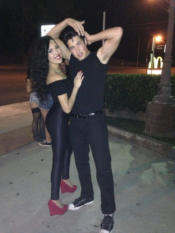 Easy, cute, & creative couples costume: Sandy & Danny from Grease. Happy Halloween!