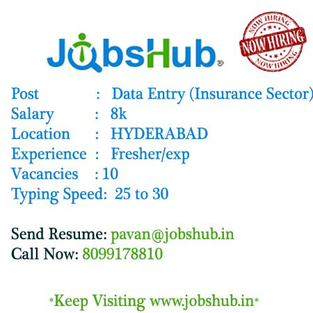 Urgent requirement for #DataEntry (Insurance Sector) in #Hyderabad - resume data entry