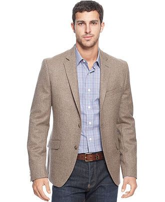 Tallia Orange Jacket Brown Herringbone Blazer - Mens Blazers