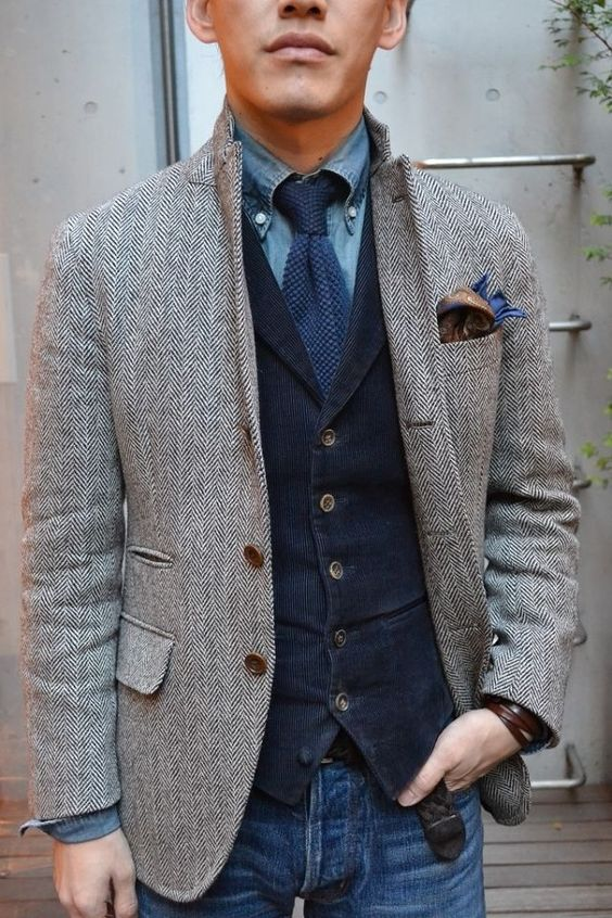 Grey Herringbone Sport Coat Navy Vest and Jeans. Men's Fall