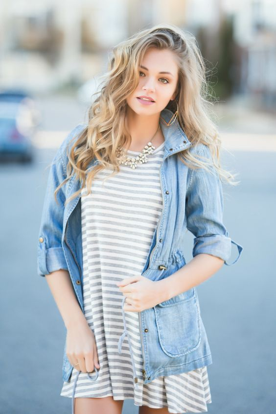 striped tshirt dress with chambray jacket #heartswoon