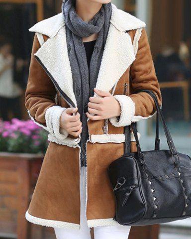 Stylish Turn-Down Collar Long Sleeves Zipper Coat For WomenCoats | RoseGal.com