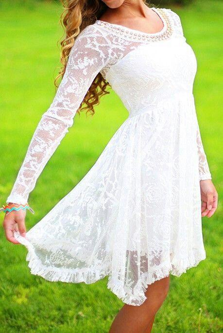 Long sleeved white dress rehearsal