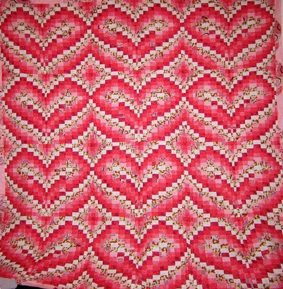 """Little Hearts"" Bargello quilt pattern by Becky Botello"
