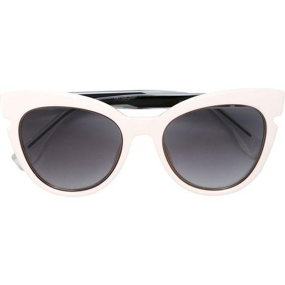 Fendi 'Fendi Lines' sunglasses ($360) ❤ liked on Polyvore featuring accessories, eyewear, sunglasses, white, white cateye glasses, white cat eye glasses, acetate sunglasses, cateye sunglasses and fendi sunglasses