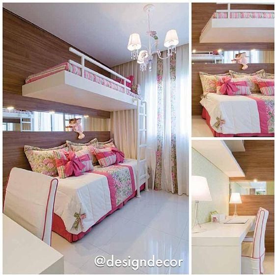 Quarto de meninas lindo Verde + Rosa por Flávia Ribeiro Rocha #designdecor #design #decor #decoração #interiores #interiordesign #homedecor #arquitetura #architecture