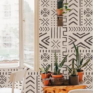 Mali Mudcloth Removable Wallpaper In 2021 Bohemian Wallpaper Boho Wallpaper Decor
