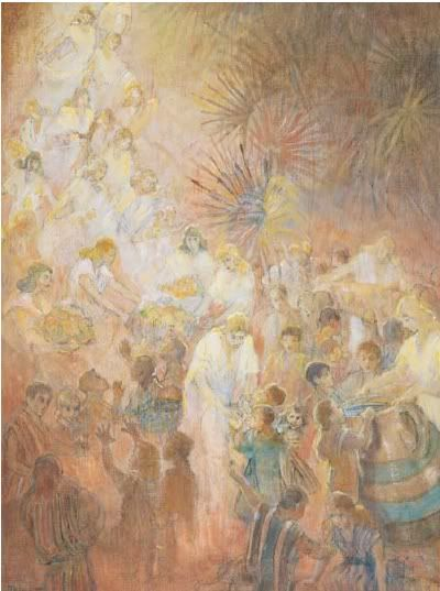 """Look to Your Children, by Minerva Teichert. The artist gave this oil painting to the Relief Society in 1947 as her donation to the building fun for the Relief Society Building. This painting shows the moments after Christ had blessed the little children, when angels """"encircled those little ones about....with fire; and the angels did minister unto them."""" (3 Nephi 17:24)"""