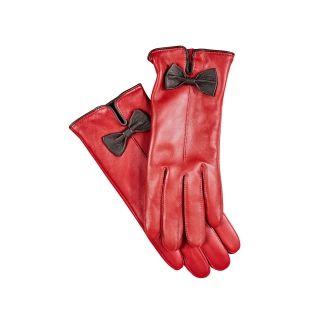 Soepelen leren handschoenen met strik Rood