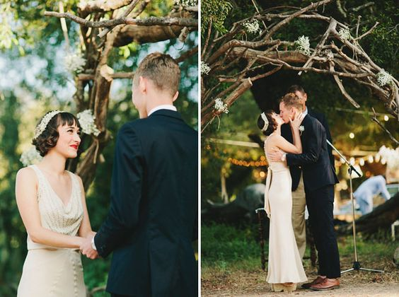 vintage make up and hair Great Gatsby Rustic Wedding