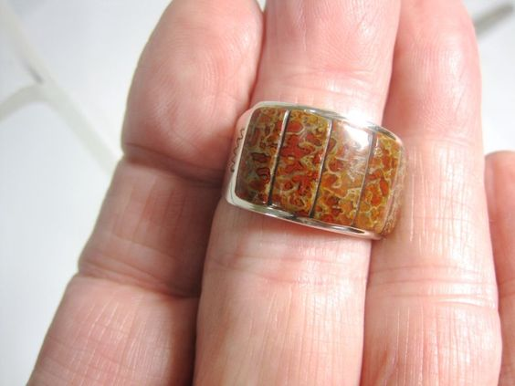 Sterling Silver Ring w Red Brown Fossilized DINOSAUR BONE Settings Size 11.5 #Artisan