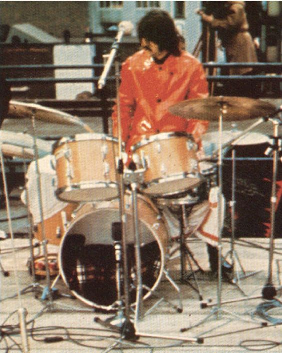 "Ringo's Ludwig Hollywood kit, during the Let It Be sessions. Drum sizes: 8"" x 12"" Tom, 9"" x 13"" Tom, 16"" x 16"" Floor Tom, 14"" x 22"" Bass Drum, 5.5"" x 14"" Snare Drum"