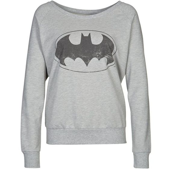 ONLY BATMAN Sweatshirt (66 CAD) ❤ liked on Polyvore featuring tops, hoodies, sweatshirts, sweaters, shirts, batman, women's outerwear and only sweatshirt: