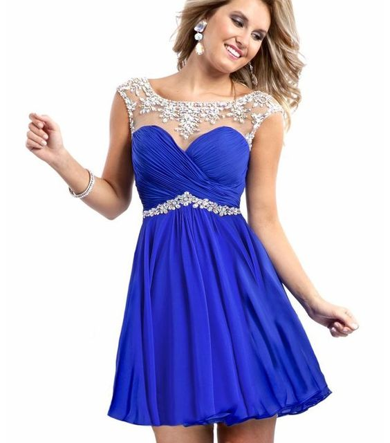 Royal blue and silver short formal dress its elegant yet cute and ...