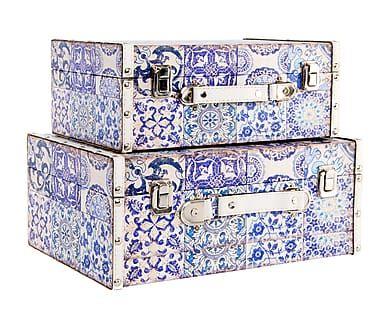 Set de 2 cajas de madera y poliuretano Azulejos